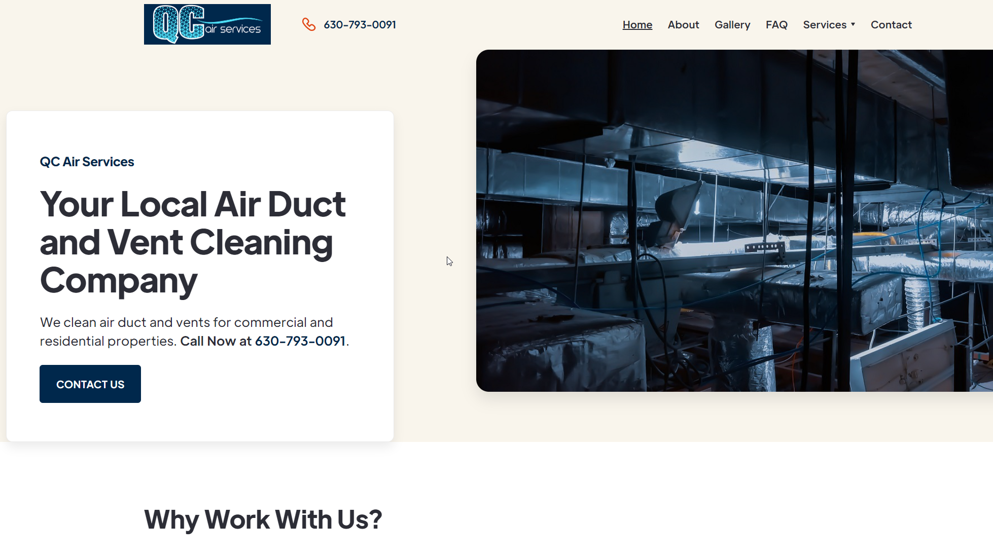 QC Air Duct Cleaning Website Example